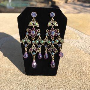 Kirks Folly Chandelier Rhinestone Pierced Earrings